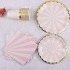 Disposable Dinnerware Set - Serves 16 -Striped Party Supplies - Includes Dinner Plates, Dessert Plates, Napkins, Cups(Pink)