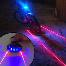 5 LED 2 Laser Bike Bicycle Light Rear Tail Flashing Safety Warning Lamp Night