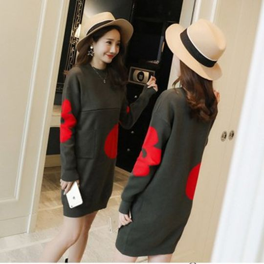 43acab25f21 Nursing Dress Knitted Breastfeeding Sweater Dresses Long Pullovers for  Pregnant Women Jacquard Elegant Clothes