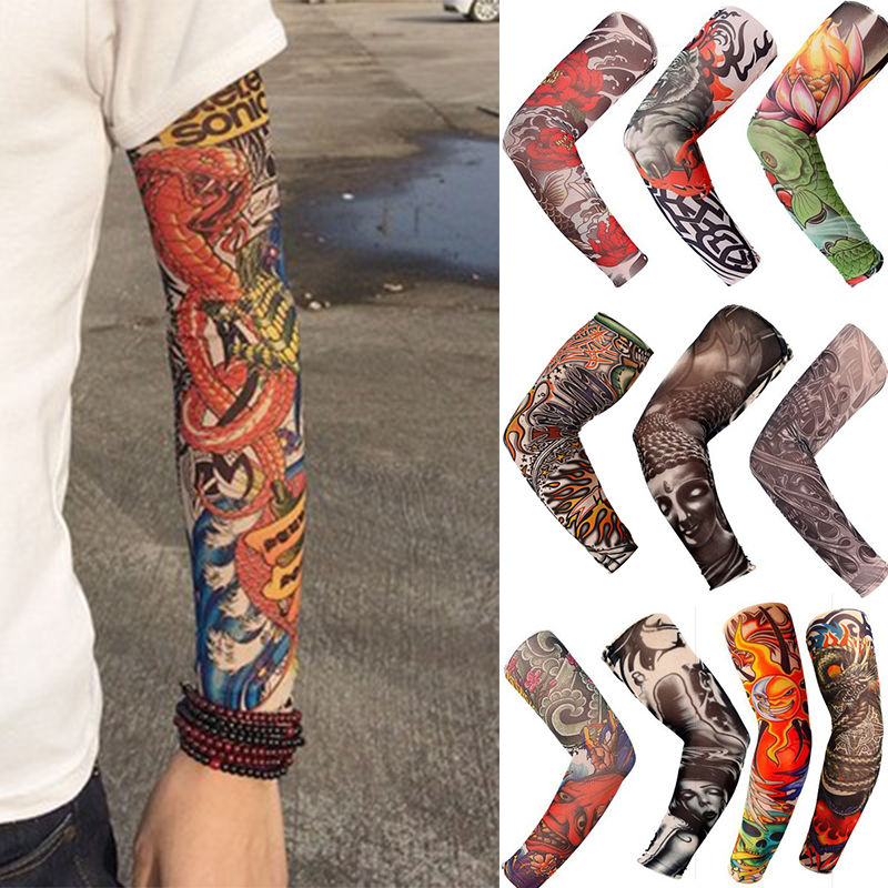 Cool 1 PCS Arm Tattoo Oversleeve Hand-Less Sunscreen Ride Hike Sleevelet