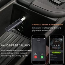 Mini Wireless Bluetooth Receiver Portable Aux Audio Receiver Adapter 4.1 Bluetooth Hands-Free Car Kit 3.5mm Jack Bluetooth Music Receiver Black
