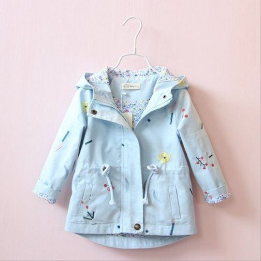 af5e636f4494 2018 New Spring Autumn Girls Windbreaker Coat Baby Kids Flower ...