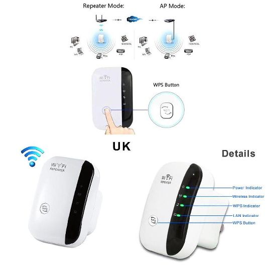WiFi Range Extender Booster 300Mbps Superboost Speed Wireless Repeater ABS PC
