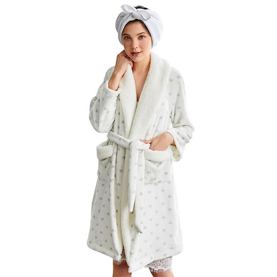 new products sale retailer buy good #Free Shipping# Women Winter Warm Flannel Heart Print Pockets Sleep Robe  Bathrobe Ladies Pajama Nightdress Sleepwear Home Clothing With Belt White L  ...