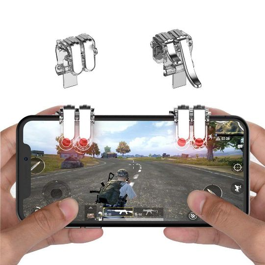 Mobile Phone Game Controller Joystick Gamepad, Joypad Fire Button  Compatible with PUBG for Android iOS(Adjustable Clip, Play with 6 Fingers)