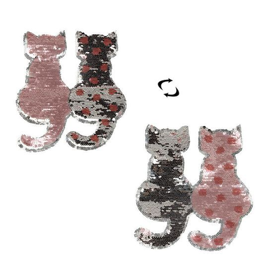 Cat Reversible Change Color Sequins Sew On Patches for Clothes DIY Applique FO