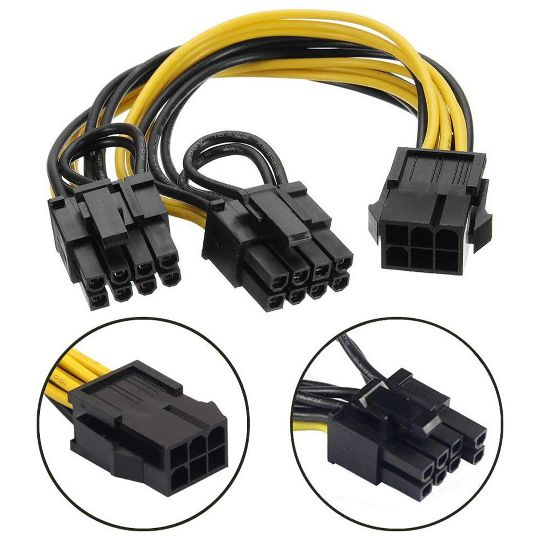 6 Pin to Dual PCIe 8 Pin (6+2) Images Card PCI Express Power Adapter GPU  VGA Y-Splitter Extension Cable Mining Video Card Power Cable 20cm 4 Pack