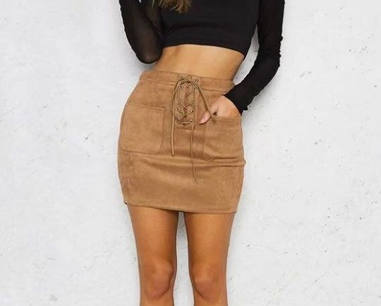 2fb1501e4301e1 Leather Suede Lace Up Bandage High Waist Party Pencil Short Mini Skirt  Ladies Womens Brief Solid