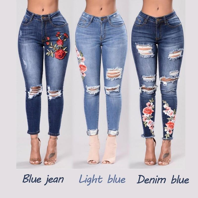 3 стилей Женская вышивка Ripped Jeans Big Stretch Skinny Plus Size Denim Pants
